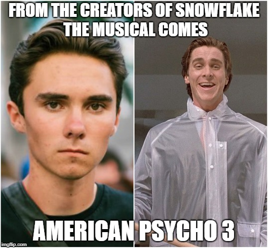 FROM THE CREATORS OF SNOWFLAKE THE MUSICAL COMES AMERICAN PSYCHO 3 | image tagged in david hogg,libtard,snowflakes,2nd amendment,funny | made w/ Imgflip meme maker