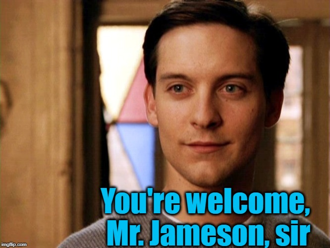 You're welcome, Mr. Jameson, sir | made w/ Imgflip meme maker