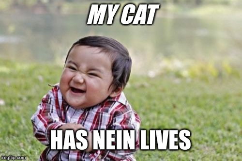Evil Toddler Meme | MY CAT HAS NEIN LIVES | image tagged in memes,evil toddler | made w/ Imgflip meme maker