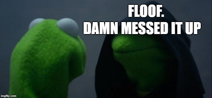 Evil Kermit Meme | FLOOF. DAMN MESSED IT UP | image tagged in memes,evil kermit | made w/ Imgflip meme maker