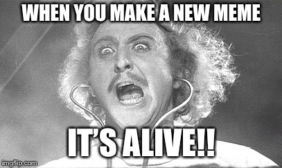 Frankenmeme | WHEN YOU MAKE A NEW MEME IT'S ALIVE!! | image tagged in young frankenstein,gene wilder,new memes | made w/ Imgflip meme maker