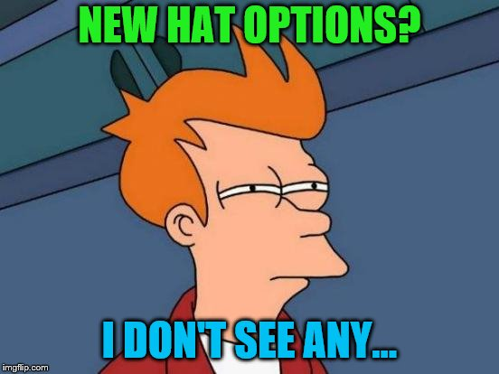 Futurama Fry Meme | NEW HAT OPTIONS? I DON'T SEE ANY... | image tagged in memes,futurama fry | made w/ Imgflip meme maker