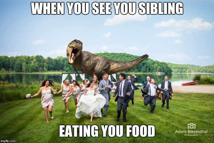 WHEN YOU SEE YOU SIBLING EATING YOU FOOD | image tagged in t-rex crashes wedding | made w/ Imgflip meme maker