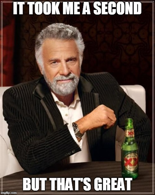 The Most Interesting Man In The World Meme | IT TOOK ME A SECOND BUT THAT'S GREAT | image tagged in memes,the most interesting man in the world | made w/ Imgflip meme maker