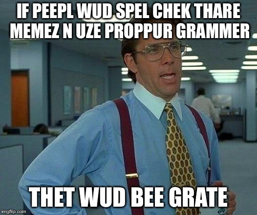 That Would Be Great | IF PEEPL WUD SPEL CHEK THARE MEMEZ N UZE PROPPUR GRAMMER THET WUD BEE GRATE | image tagged in memes,that would be great | made w/ Imgflip meme maker
