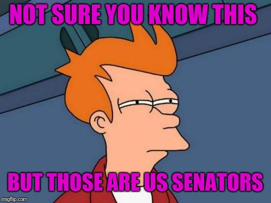 Futurama Fry Meme | NOT SURE YOU KNOW THIS BUT THOSE ARE US SENATORS | image tagged in memes,futurama fry | made w/ Imgflip meme maker