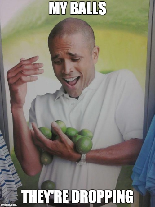 Why Can't I Hold All These Limes | MY BALLS THEY'RE DROPPING | image tagged in memes,why can't i hold all these limes | made w/ Imgflip meme maker
