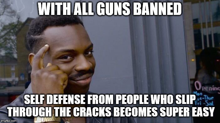 Roll Safe Think About It Meme | WITH ALL GUNS BANNED SELF DEFENSE FROM PEOPLE WHO SLIP THROUGH THE CRACKS BECOMES SUPER EASY | image tagged in memes,roll safe think about it | made w/ Imgflip meme maker