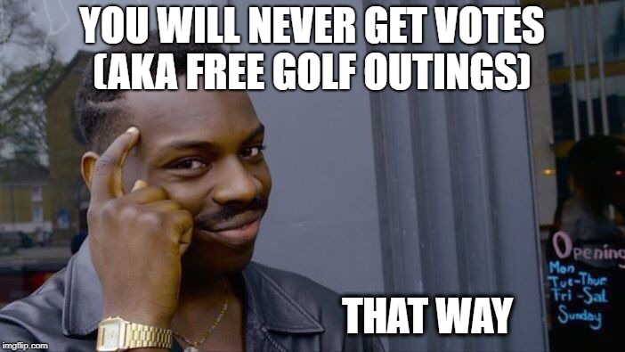 Roll Safe Think About It Meme | YOU WILL NEVER GET VOTES (AKA FREE GOLF OUTINGS) THAT WAY | image tagged in memes,roll safe think about it | made w/ Imgflip meme maker