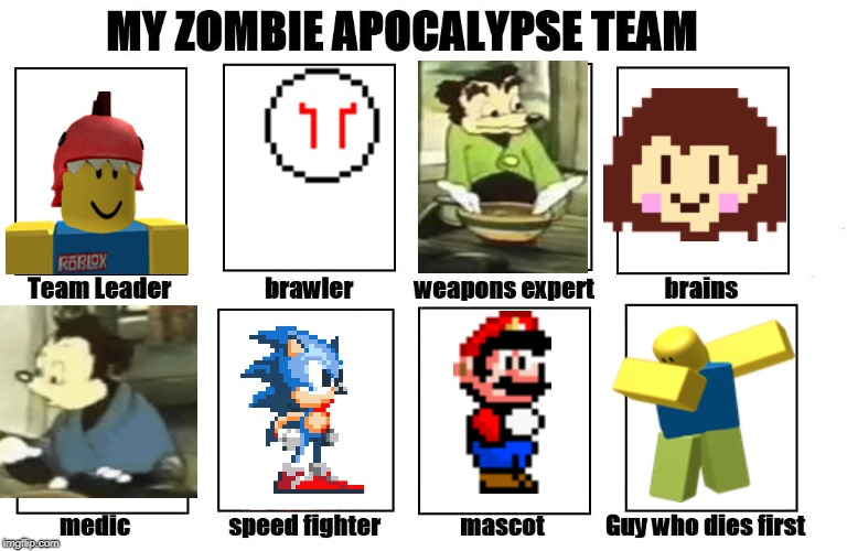 Your zombie apocalypse team! | image tagged in your zombie apocalypse team | made w/ Imgflip meme maker