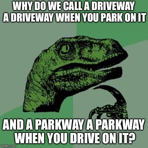 Philosoraptor Meme | WHY DO WE CALL A DRIVEWAY A DRIVEWAY WHEN YOU PARK ON IT AND A PARKWAY A PARKWAY WHEN YOU DRIVE ON IT? | image tagged in memes,philosoraptor | made w/ Imgflip meme maker