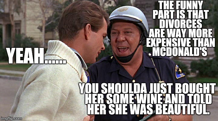 officer puppy | THE FUNNY PART IS THAT DIVORCES ARE WAY MORE EXPENSIVE THAN MCDONALD'S YEAH...... YOU SHOULDA JUST BOUGHT HER SOME WINE AND TOLD HER SHE WAS | image tagged in officer puppy | made w/ Imgflip meme maker