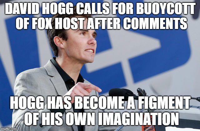 David Hogg | DAVID HOGG CALLS FOR BUOYCOTT OF FOX HOST AFTER COMMENTS HOGG HAS BECOME A FIGMENT OF HIS OWN IMAGINATION | image tagged in david,figment | made w/ Imgflip meme maker