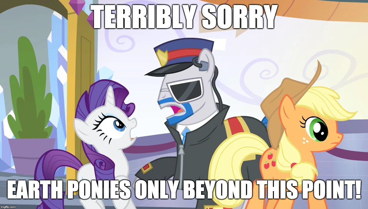 Unicorn discrimination! | TERRIBLY SORRY EARTH PONIES ONLY BEYOND THIS POINT! | image tagged in memes,rarity,applejack,security,my little pony meme week,xanderbrony | made w/ Imgflip meme maker