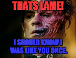 Two Face Knows | THATS LAME! I SHOULD KNOW I WAS LIKE YOU ONCE. | image tagged in two face knows | made w/ Imgflip meme maker