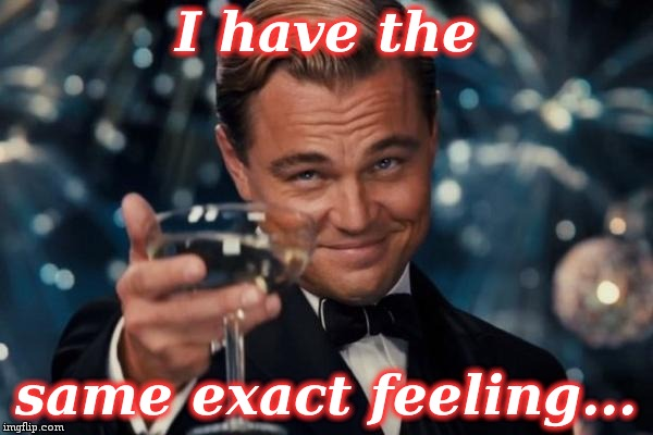 Leonardo Dicaprio Cheers Meme | I have the same exact feeling... | image tagged in memes,leonardo dicaprio cheers | made w/ Imgflip meme maker
