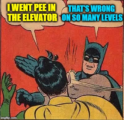 I bet he even got off afterwards! | I WENT PEE IN THE ELEVATOR THAT'S WRONG ON SO MANY LEVELS | image tagged in memes,batman slapping robin,pun,funny | made w/ Imgflip meme maker