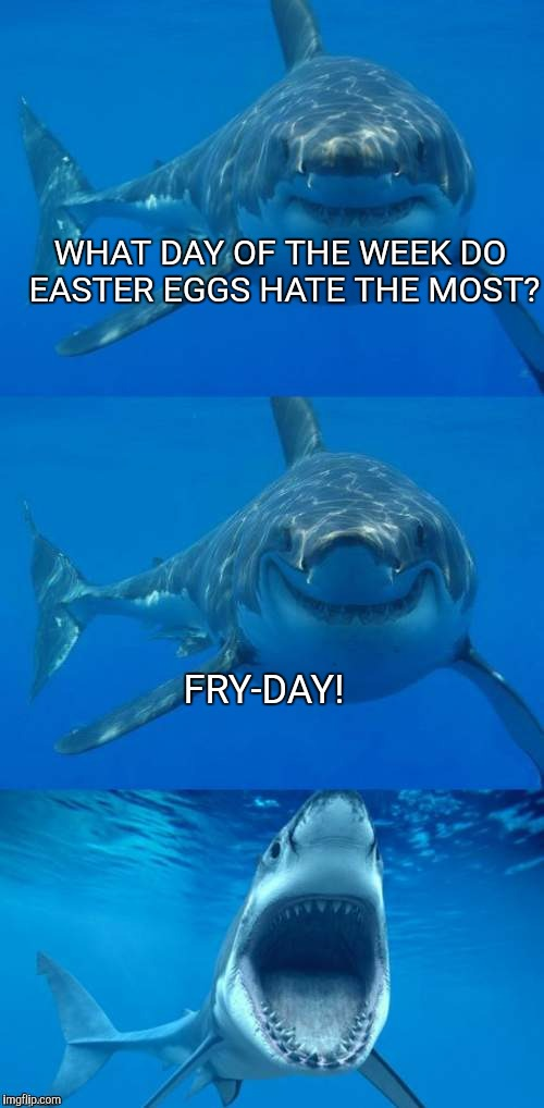Bad Shark Pun  | WHAT DAY OF THE WEEK DO EASTER EGGS HATE THE MOST? FRY-DAY! | image tagged in bad shark pun,easter,joke | made w/ Imgflip meme maker