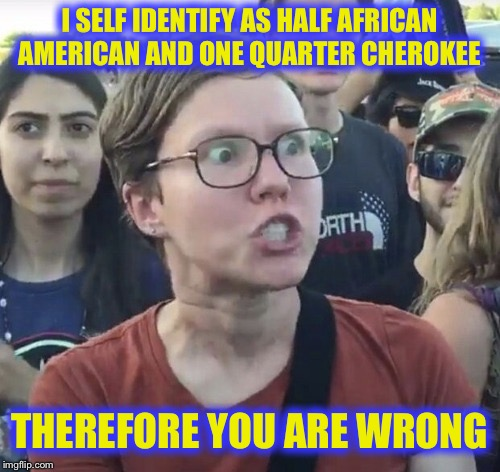 Triggered feminist | I SELF IDENTIFY AS HALF AFRICAN AMERICAN AND ONE QUARTER CHEROKEE THEREFORE YOU ARE WRONG | image tagged in triggered feminist | made w/ Imgflip meme maker