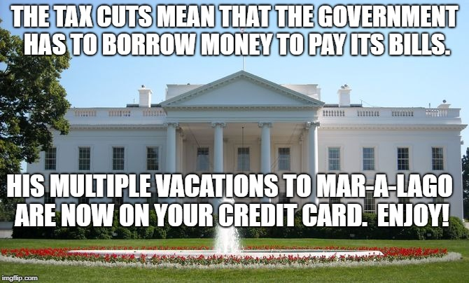 White House | THE TAX CUTS MEAN THAT THE GOVERNMENT HAS TO BORROW MONEY TO PAY ITS BILLS. HIS MULTIPLE VACATIONS TO MAR-A-LAGO ARE NOW ON YOUR CREDIT CARD | image tagged in white house | made w/ Imgflip meme maker