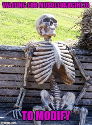 Waiting Skeleton Meme | WAITING FOR MUSCLECARGIRL76 TO MODIFY | image tagged in memes,waiting skeleton | made w/ Imgflip meme maker