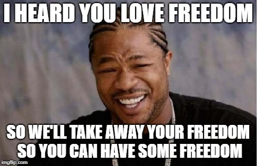give up your Freedom, and we'll give you some Freedom. | I HEARD YOU LOVE FREEDOM SO WE'LL TAKE AWAY YOUR FREEDOM SO YOU CAN HAVE SOME FREEDOM | image tagged in memes,yo dawg heard you,funny,memeception,guns | made w/ Imgflip meme maker