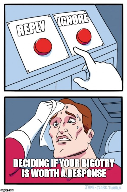 Two Buttons Meme | REPLY IGNORE DECIDING IF YOUR BIGOTRY IS WORTH A RESPONSE | image tagged in memes,two buttons | made w/ Imgflip meme maker