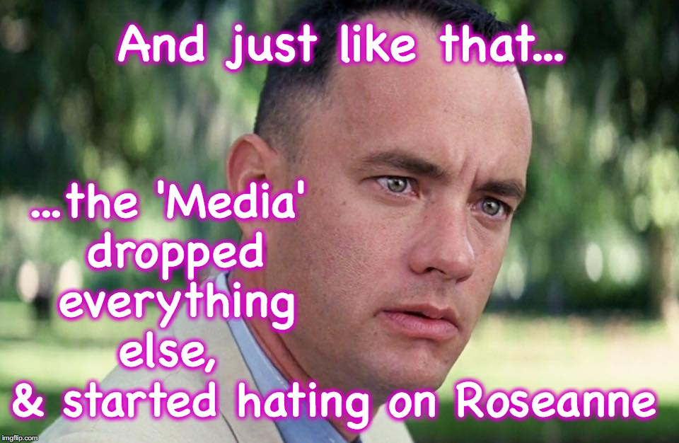 And just like that... ...the 'Media' dropped everything else, & started hating on Roseanne | image tagged in and just like that,roseanne | made w/ Imgflip meme maker