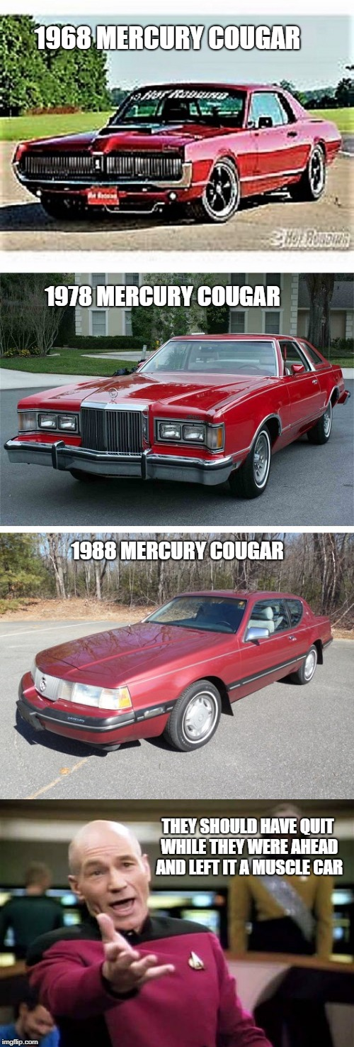 Mercury Cougars suffer Identity Crisis | 1968 MERCURY COUGAR 1978 MERCURY COUGAR 1988 MERCURY COUGAR THEY SHOULD HAVE QUIT WHILE THEY WERE AHEAD AND LEFT IT A MUSCLE CAR | image tagged in car memes,cars,true | made w/ Imgflip meme maker