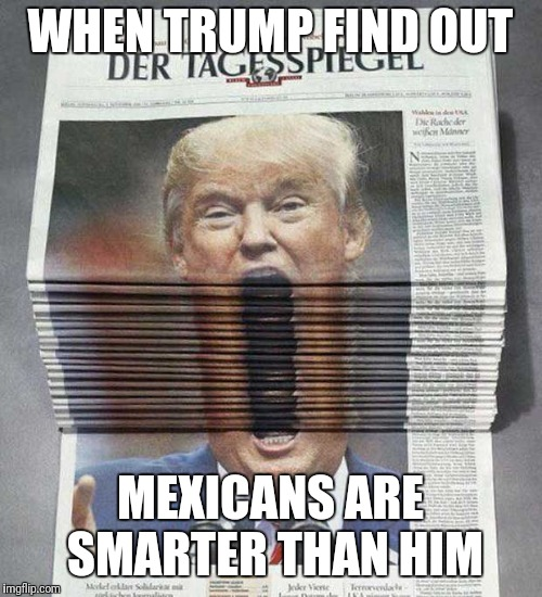 WHEN TRUMP FIND OUT MEXICANS ARE SMARTER THAN HIM | image tagged in big mouth trump | made w/ Imgflip meme maker