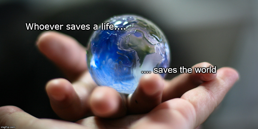 Whoever saves a life.... .... saves the world | image tagged in saves the world | made w/ Imgflip meme maker