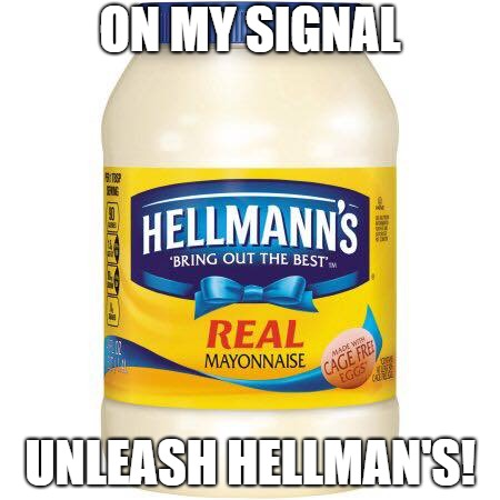 ON MY SIGNAL UNLEASH HELLMAN'S! | image tagged in hellmanns mayo | made w/ Imgflip meme maker