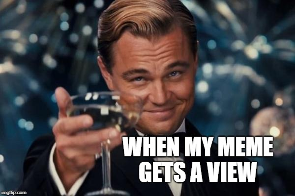 One view! Thanks! | WHEN MY MEME GETS A VIEW | image tagged in memes,leonardo dicaprio cheers | made w/ Imgflip meme maker