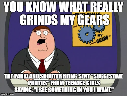 "I mean really... | YOU KNOW WHAT REALLY GRINDS MY GEARS THE PARKLAND SHOOTER BEING SENT ""SUGGESTIVE PHOTOS"" FROM TEENAGE GIRLS SAYING, ""I SEE SOMETHING IN YOU  