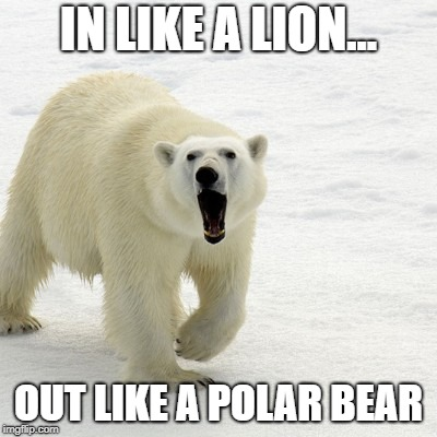 Ah, March.  | IN LIKE A LION... OUT LIKE A POLAR BEAR | image tagged in winter,spring,march | made w/ Imgflip meme maker