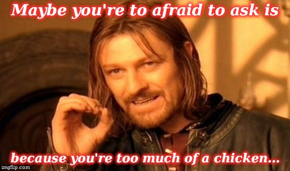 One Does Not Simply Meme | Maybe you're to afraid to ask is because you're too much of a chicken... | image tagged in memes,one does not simply | made w/ Imgflip meme maker
