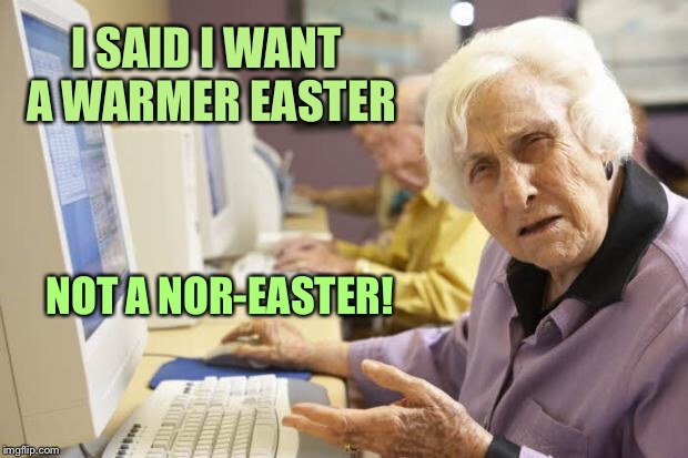 The weatherman has crap in his hearing aids again | I SAID I WANT A WARMER EASTER NOT A NOR-EASTER! | image tagged in old lady,easter,cold,noreaster,spring,bad hearing | made w/ Imgflip meme maker