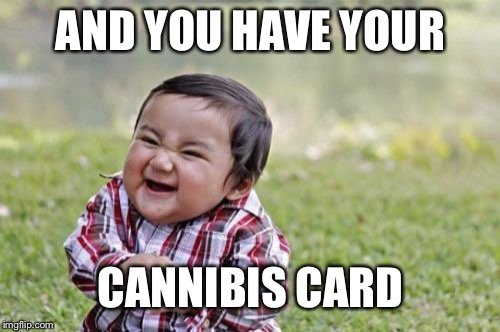 Evil Toddler Meme | AND YOU HAVE YOUR CANNIBIS CARD | image tagged in memes,evil toddler | made w/ Imgflip meme maker