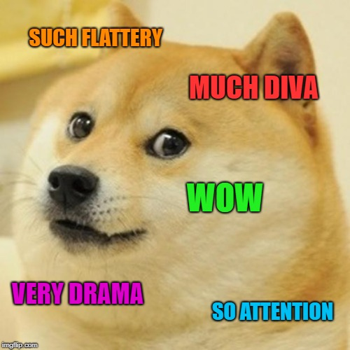 Doge Meme | SUCH FLATTERY MUCH DIVA WOW VERY DRAMA SO ATTENTION | image tagged in memes,doge | made w/ Imgflip meme maker