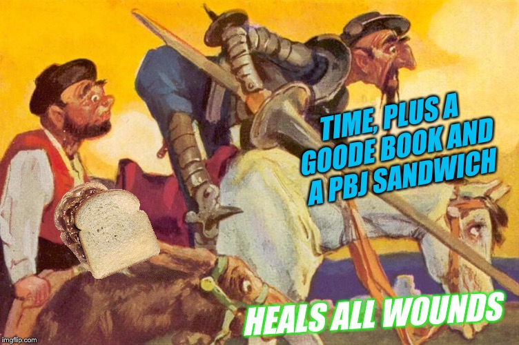 TIME, PLUS A GOODE BOOK AND A PBJ SANDWICH HEALS ALL WOUNDS | made w/ Imgflip meme maker