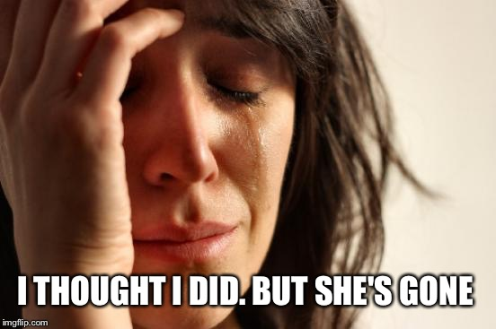 First World Problems Meme | I THOUGHT I DID. BUT SHE'S GONE | image tagged in memes,first world problems | made w/ Imgflip meme maker