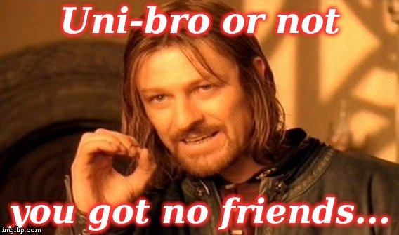 One Does Not Simply Meme | Uni-bro or not you got no friends... | image tagged in memes,one does not simply | made w/ Imgflip meme maker