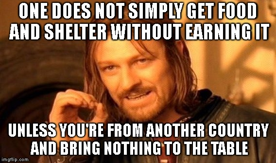 One Does Not Simply Meme | ONE DOES NOT SIMPLY GET FOOD AND SHELTER WITHOUT EARNING IT UNLESS YOU'RE FROM ANOTHER COUNTRY AND BRING NOTHING TO THE TABLE | image tagged in memes,one does not simply | made w/ Imgflip meme maker