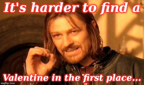 One Does Not Simply Meme | It's harder to find a Valentine in the first place... | image tagged in memes,one does not simply | made w/ Imgflip meme maker