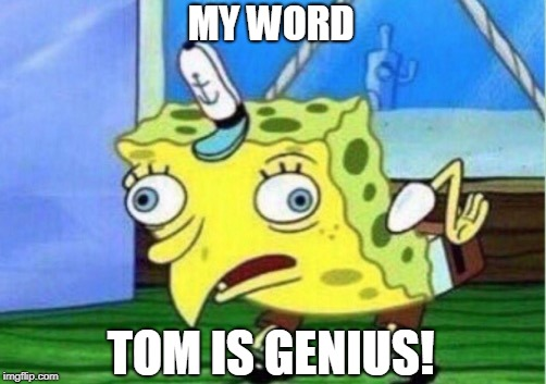 Mocking Spongebob Meme | MY WORD TOM IS GENIUS! | image tagged in memes,mocking spongebob | made w/ Imgflip meme maker