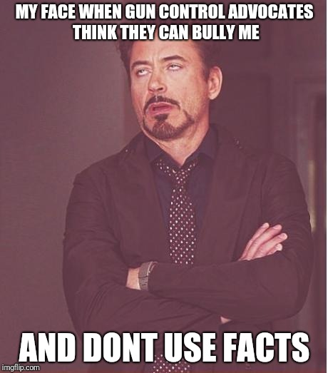 Face You Make Robert Downey Jr Meme | MY FACE WHEN GUN CONTROL ADVOCATES THINK THEY CAN BULLY ME AND DONT USE FACTS | image tagged in memes,face you make robert downey jr | made w/ Imgflip meme maker