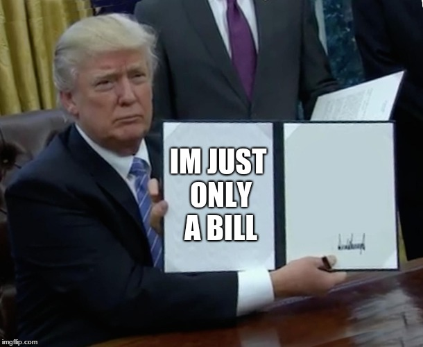 Trump Bill Signing Meme | IM JUST ONLY A BILL | image tagged in memes,trump bill signing | made w/ Imgflip meme maker