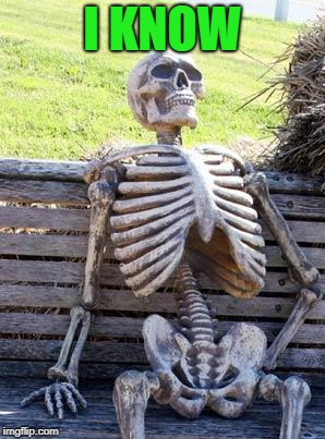 Waiting Skeleton Meme | I KNOW | image tagged in memes,waiting skeleton | made w/ Imgflip meme maker