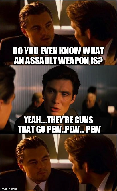 What an assault weapon? | DO YOU EVEN KNOW WHAT AN ASSAULT WEAPON IS? YEAH....THEY'RE GUNS THAT GO PEW..PEW... PEW | image tagged in memes,inception,guns,2a,assault weapon | made w/ Imgflip meme maker