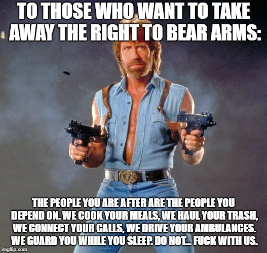 Chuck Norris Guns Meme | TO THOSE WHO WANT TO TAKE AWAY THE RIGHT TO BEAR ARMS: THE PEOPLE YOU ARE AFTER ARE THE PEOPLE YOU DEPEND ON. WE COOK YOUR MEALS, WE HAUL YO | image tagged in memes,chuck norris guns,chuck norris | made w/ Imgflip meme maker